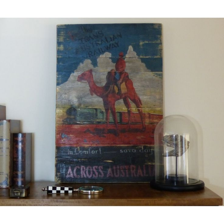 Trans - Australian Railway Poster - Reproduction wooden vintage wall painting.