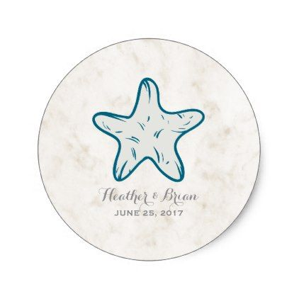 #personalize - #Royal Blue Rustic Starfish Wedding Classic Round Sticker