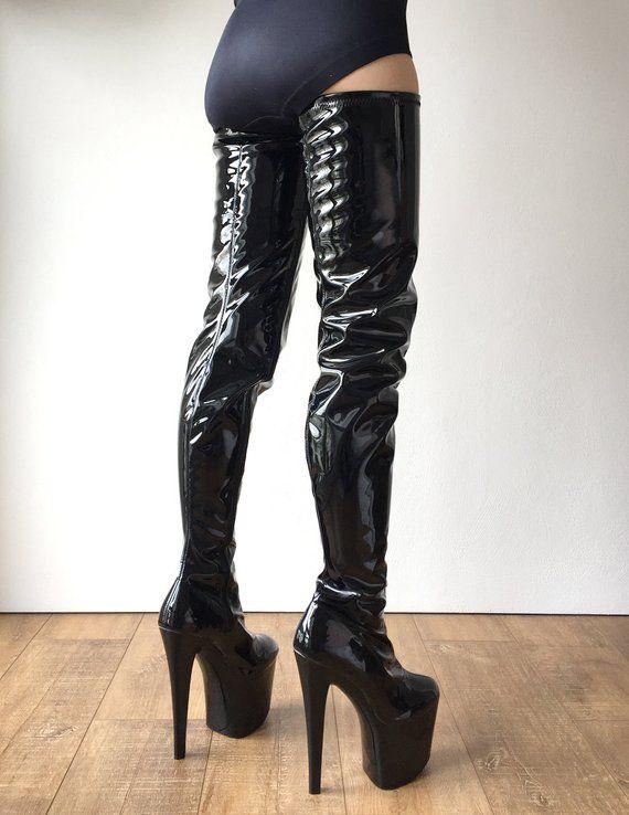 Details about  /Womens High Heel Knee High Zipped Elegant Platform Thicken Boots Shoes plus sz