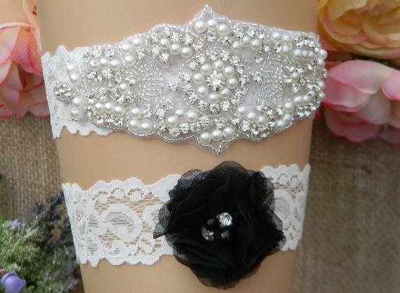 Wedding Garter Set Bridal Black Keepsake And Toss Pearl Rhinestone ELLE