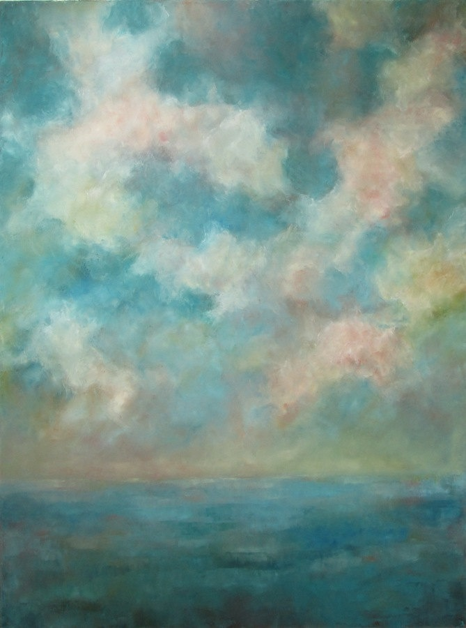 Day by Day- Original Oil Painting on Canvas 36x48 large abstract turquoise blue clouds sky ocean beach landscape palette knife painting. $425.00, via Etsy.