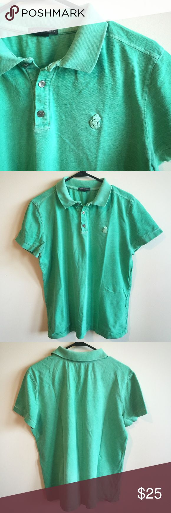 """Men's Rogues Gallery Green Polo Shirt Men's faded, rugged green short sleeve polo shirt by Rogues Gallery. Size Large. 100% Cotton. Good condition. Armpit to armpit: 22"""". Length: 25"""". Rogues Gallery Shirts Polos"""