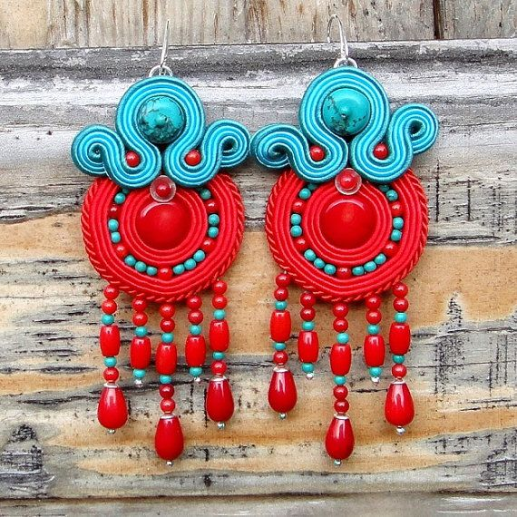 Rudo II soutache earrings with turquoise and by BlueButterflybizu