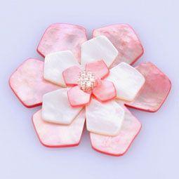 Mother of Pearl Pink White Flower Petal Brooch