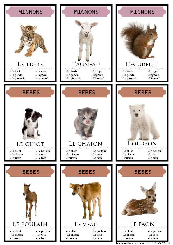 Cartes a jouer - FLE 9 familles au choix thème des animaux Le PDF : jeu7familles-animaux