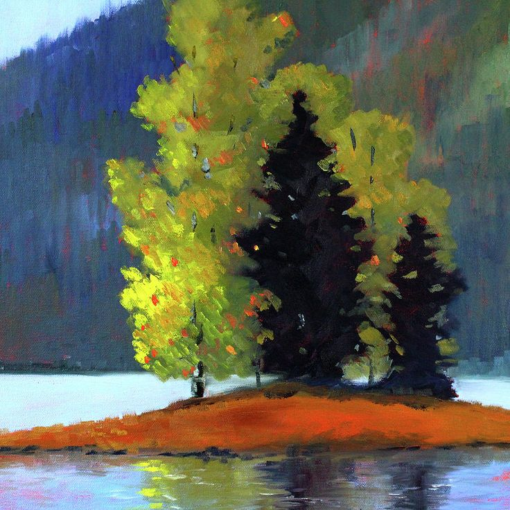 Northwest Landscape Painting Painting - Island Trees Landscape by Nancy Merkle