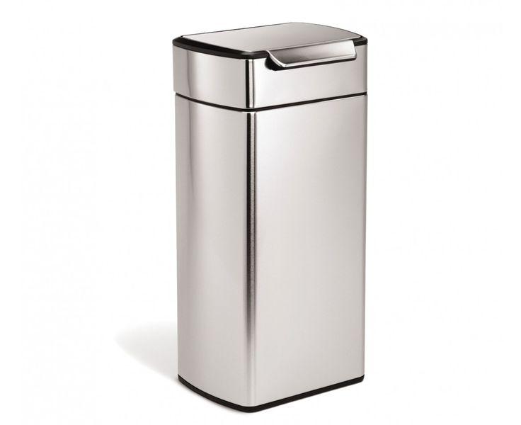 simplehuman | 30L poubelle rectangulaire à touch-bar en acier simplehuman