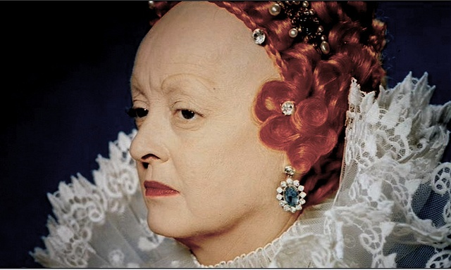 The Virgin Queen.  1955.  Bette Davis, had to shave part of her hair for the part.