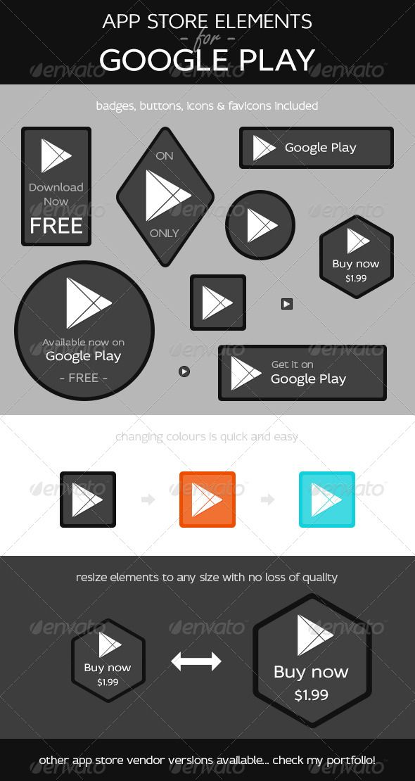 App Store Elements for Google Play  #GraphicRiver             What's this then? Buttons, badges, icons & favicons in various shapes and sizes all presented in a consistent and popular, modern flat style. Perfect for you to help advertise, promote and market your google play app in style.  What do I get?  10 fully editable, named & organised .psd files. 10 web ready transparent .png's with text removed for your convenience. Help file – including a link to the font used. What can I edit? If…