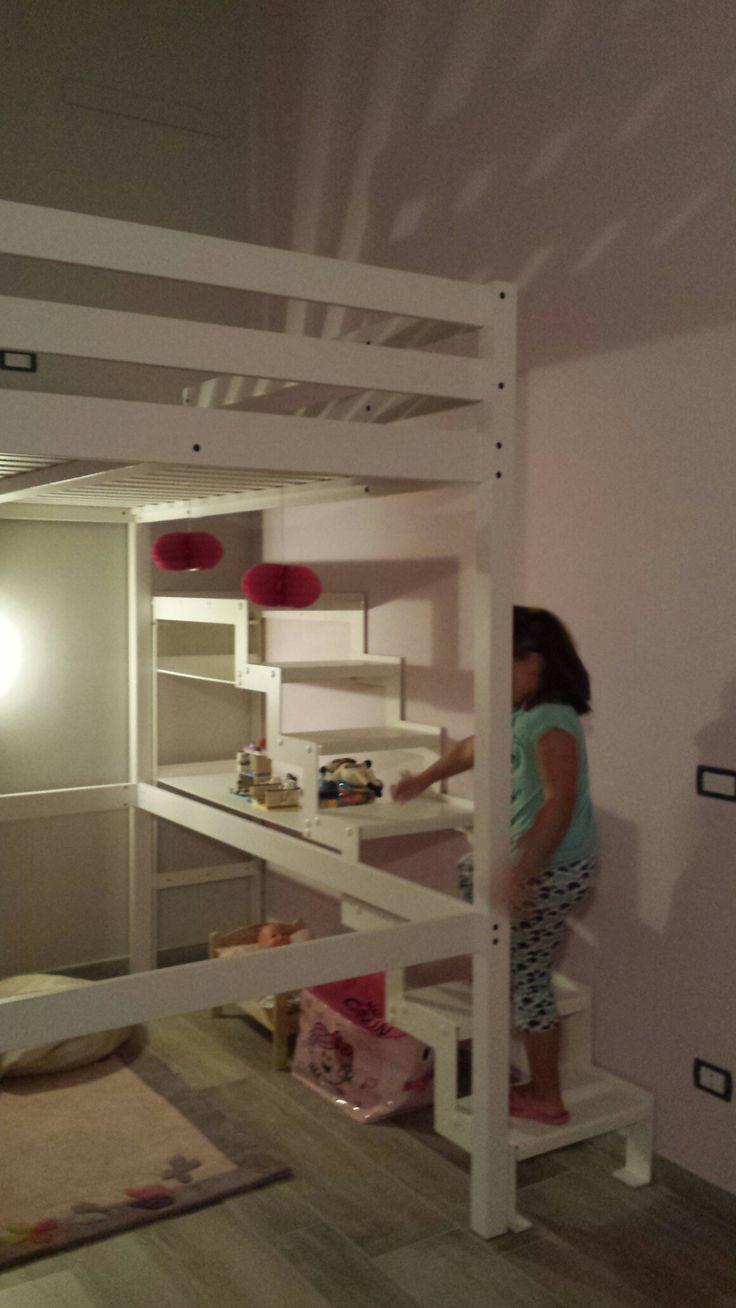 Scala in ferro costruita da noi per letto a soppalco Ikea