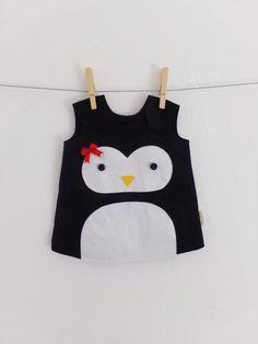 Pinguin Baby Kleid, 100 % Baumwolle, Handmade, Kinder-Weihnachts-Outfit, Winter, Foto-Prop, Kind, Kinder, Kleinkind, niedlich, Neugeborenen-3 Jahre