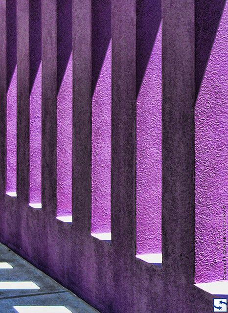 Albuquerque, New Mexico - Purple colored columns at The Hispanic Cultural Center.