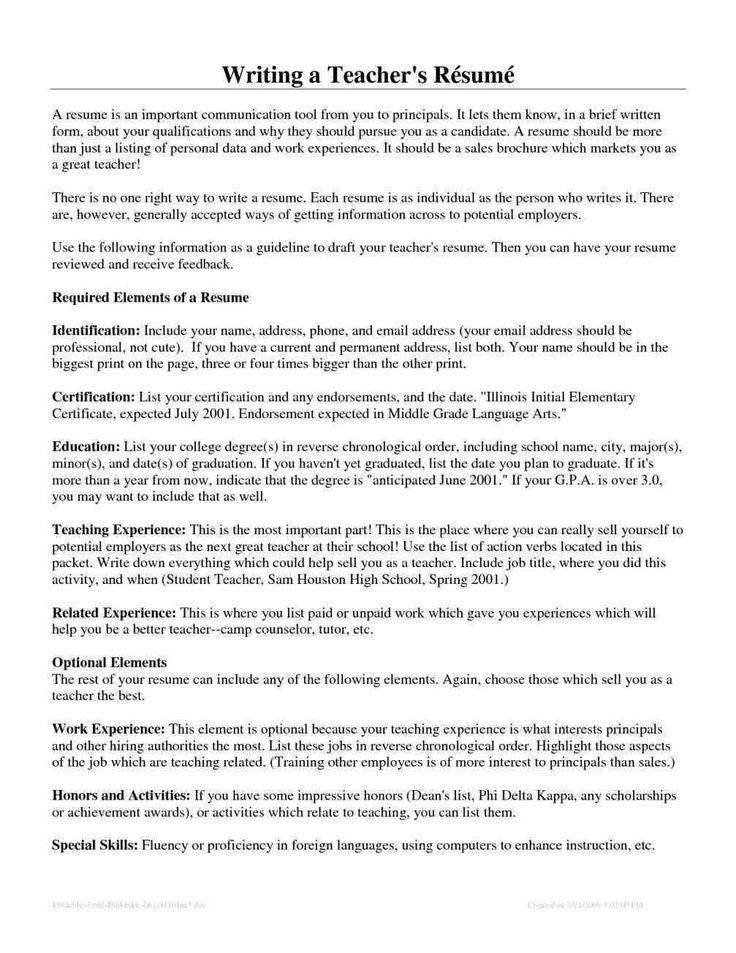 First Year Teacher Resume Samples Teacher resume, Resume
