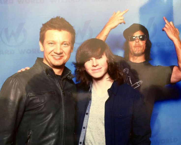 Jeremy Renner, Chandler Riggs and Norman Reedus at the New Orleans convention center - TWD