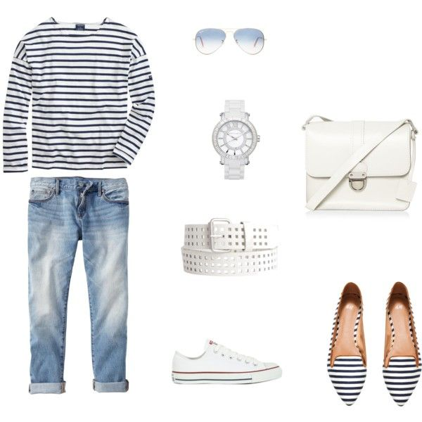 Untitled #2 by polymaven-579 on Polyvore featuring polyvore fashion style Saint James Gap H&M Converse H! by Henry Holland Vince Camuto Pieces Ray-Ban