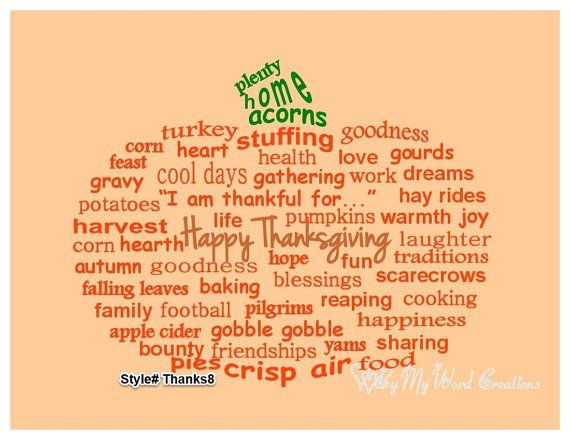 Handmade Thanksgiving Pumpkin word art by ByMyWordCreations, $20.00