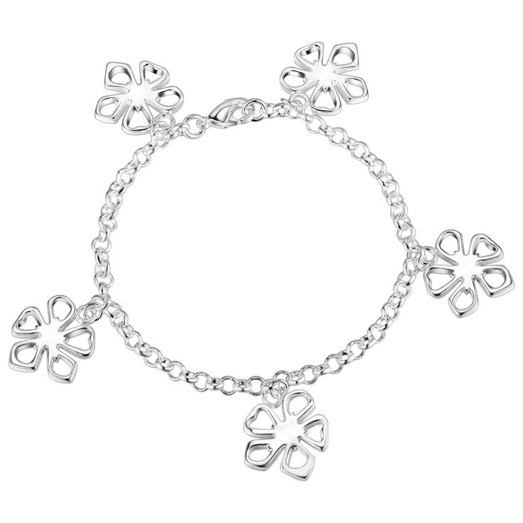 Aliexpress.com : Buy Five flower charming Wholesale silver plating bracelet, Silver plated fashion jewelry /KAFXNQKE WSSKGDXU from Reliable jewelry fashion bracelet suppliers on yinfen guo's store