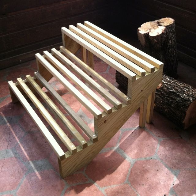 column plant stand wood - Google Search