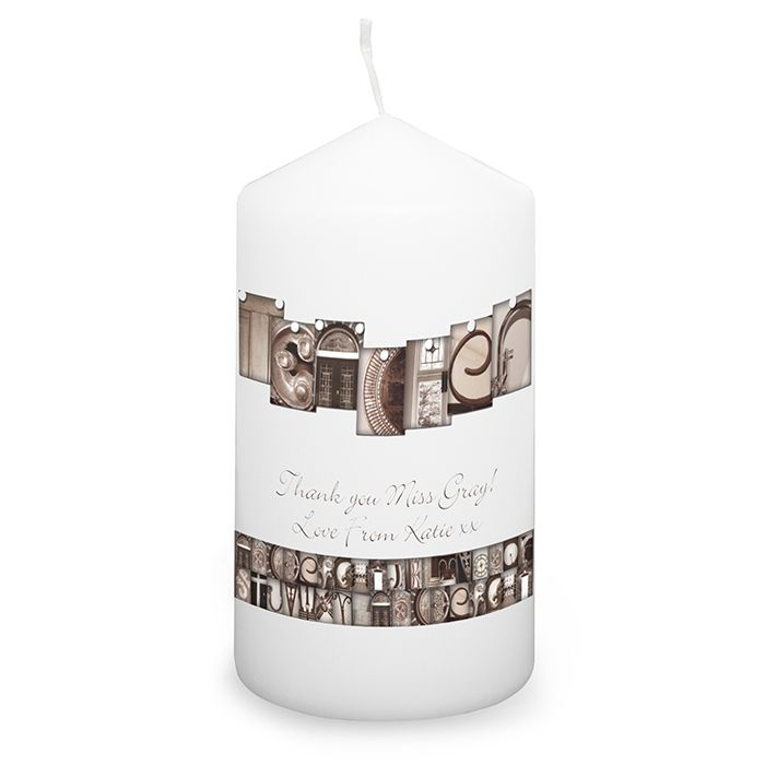 Personalised Affection Art Teacher Candle  This gorgeous candle, that is presented in an organza bag, would make a wonderful gift for anyone! The word Teacher is made up from different architectural images. Add a special message to the candle over 2 lines and up to 25 characters per line. £9.99