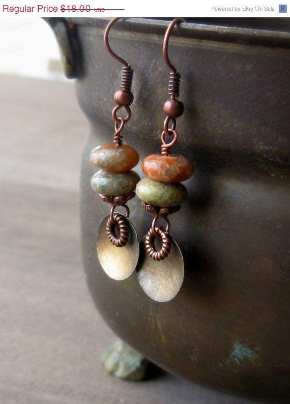 30% off - Autumn Jasper earrings - copper and brass earrings - textured metal earrings