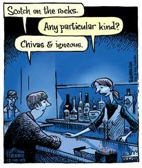 """Scotch on the rocks."" ""Any particular kind?"" ""Chivas & igneous."" Bizarro"