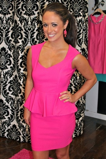 Hot Pink Peplum Dress Thad Louise Bachelorette Party In Vegas A Once Upon Wedding Pinterest Dresses And Fashion