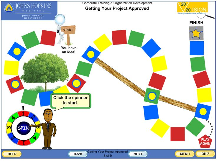 Vision 20/20 course intro screen - Project management process.  Course's interactive board game demonstrating the project management process.