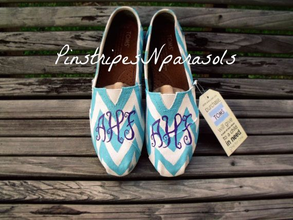 Monogram Chevron Toms.  ANY 2 Colors by pinstripesNparasols, $100.00