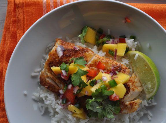 Blackened cod mango salsa coconut rice yes please for Is cod fish kosher