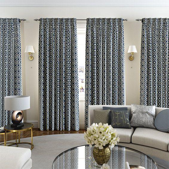 Pareco Painterly Blue Curtains