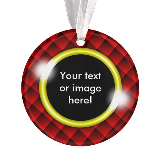 Red Black Diamond Squares 3D Gold Frame - This Christmas ornament features fading red and black 3D squares with a gold frame in which to add your own text, image, photo or picture.