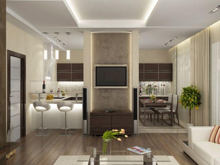 Дизайн кухни и гостиной 24 кв.м