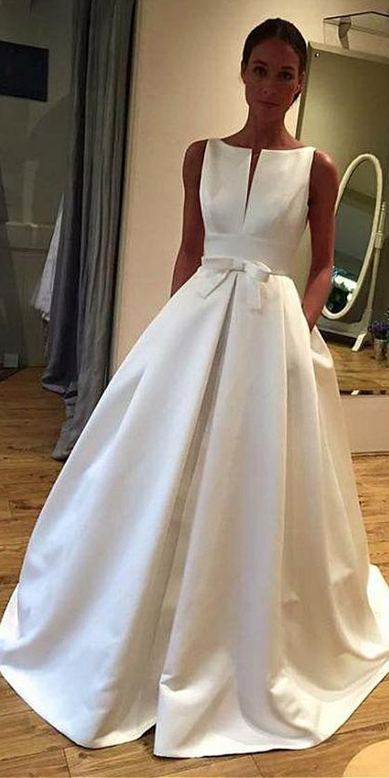 Elegant Satin Bateau Neckline A-line Wedding Dress With Bowknot & Pockets –