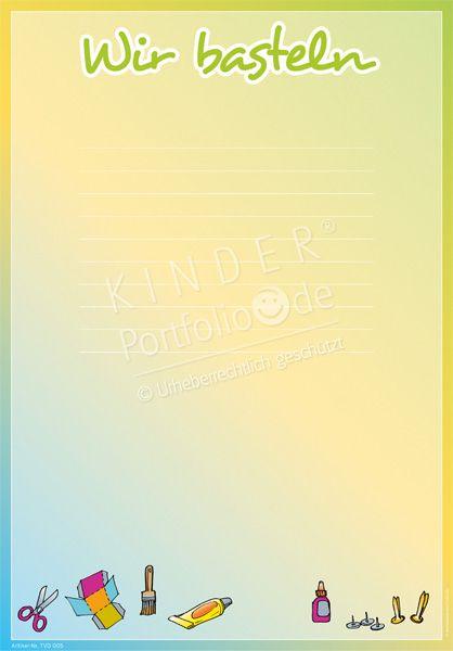 """Kindergarten Portfolio Vorlagen """"Wir basteln"""""""