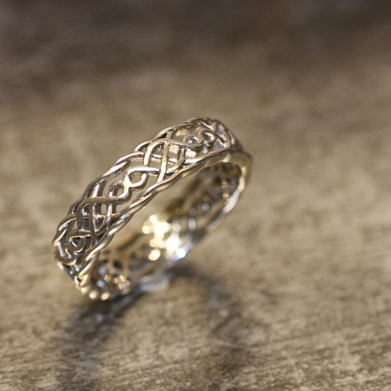 14k White Gold Celtic Wedding Band for Him or Her Unique Wedding by LaMoreDesign