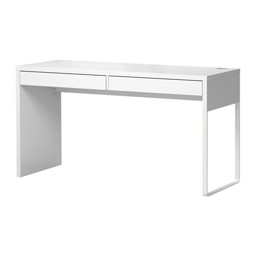 IKEA - MICKE, Desk, white, , A long table top makes it easy to create a workspace for two.Cable outlets and compartment at the back keep your cables and extension leads out of view but close at hand.The legs can be mounted to the right or left according to need.Can be placed in the middle of a room because the back is finished.Drawer stops prevent the drawers from being pulled out too far.