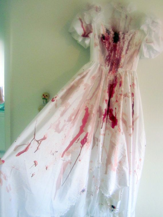 Bloody Horror Zombie Wedding Gown with Puff Sleeves. Zombie Bride, Dead, Bloody Bride Horror Costume