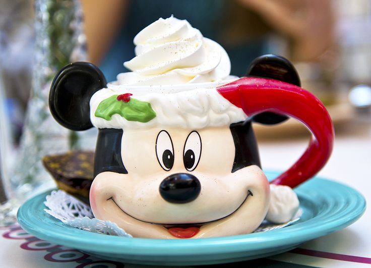 Holiday demitasse : peppermint pots de creme and a collectible mickey mouse christmas mug (only at christmas time)