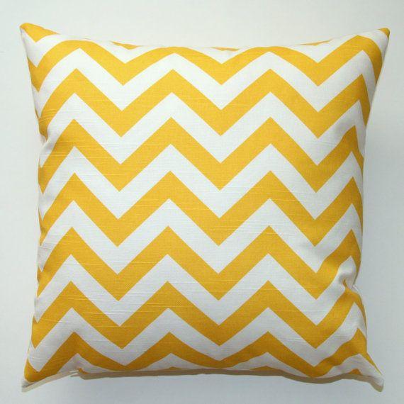 yellow chevron cushion