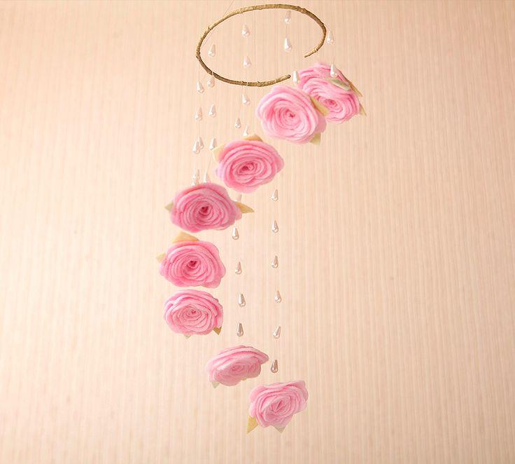 Pink Rose Baby Mobile, Rose Girl Mobile,Wedding Mobile,Rose Nursery Mobile,Pink Mobile,Rain Drops Mobile,Rose Baby Mobile,Wedding Rose Decor by HomeHarmonyCreators on Etsy https://www.etsy.com/se-en/listing/280024370/pink-rose-baby-mobile-rose-girl