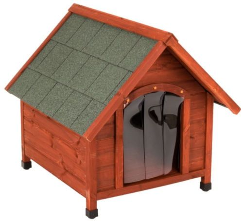 Comfort Dog Kennel Pitched Roof Doghouse Plastic Door Shelter House Pet Wooden Comfort Dog Kennel Pitched Roof Doghouse Plastic Door Shelter House Pet Wooden  Features:    The  Comfort Dog Kennel  is durable and weatherproof, with plastic door flaps to keep out the cold and wet. It is constructed from pine that has been sourced from sustainable forestry, to make a solid, secure house for your dog. The kennels roof is covered in reinforced roofing felt, which protects the pitched roof and…