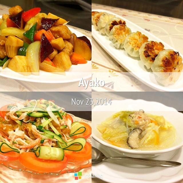 今日は、中華料理〜(≧∇≦) 酢豚にさつま芋入れるとウマウマですね〜 - 135件のもぐもぐ - さつま芋入り酢豚、えびニラまん、中華くらげのサラダ、鶏団子入り春雨スープ by ayako1015