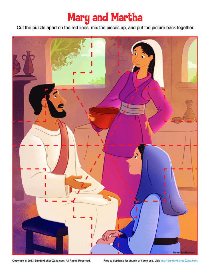 Mary and Martha Puzzle | Bible Activities for Children