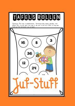 Juf-Stuff: Tafels rollen - lente-editie: gooien met 2 dobbelstenen. De getallen vermenigvuldigen en als uitkomst op het blad staat, inkleuren.