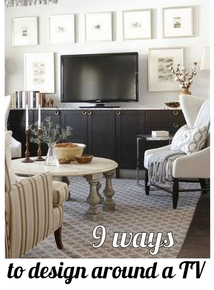 Ikea kitchen cabinets with marble top used as TV console - sarah