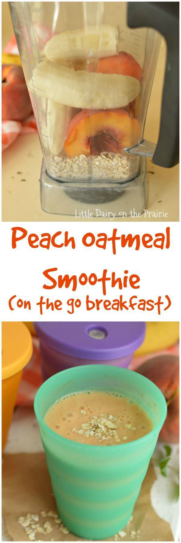 Peach Oatmeal Smoothies are a healthy on the go breakfast that will stick with you until lunch time featured on Ella Claire.
