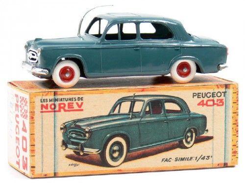 Dans mon enfance, les voitures miniatures étaient de marques Majorette,  Norev,  Dinky Toy.  Majorette était la marque française. French Toy car.  403 Peugeot, voiture miniature Norev.