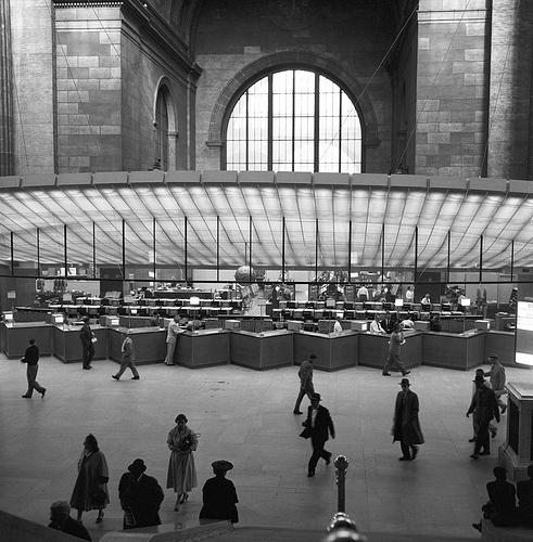 22 penn station, nyc    penn station, nyc, 1958    part of an archival project, featuring the photographs of nick dewolf