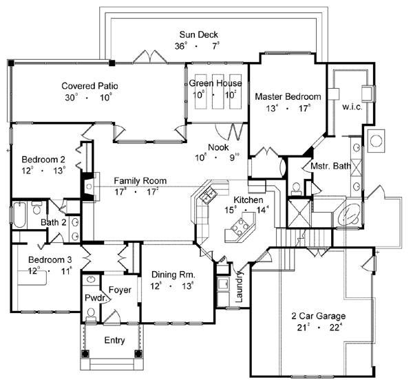 First Floor Plan image of Featured House Plan: BHG - 4176 (best little house- remove dining room, enlarge foyer, move powder, add small office area/nook)