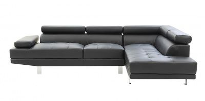 Elias Modern Black Eco Leather Sectional Sofa Bed Right